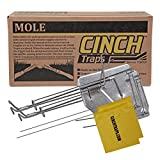 Cinch Mole Trap with Tunnel Marking Flag (Medium) Heavy-Duty, Reusable Rodent...
