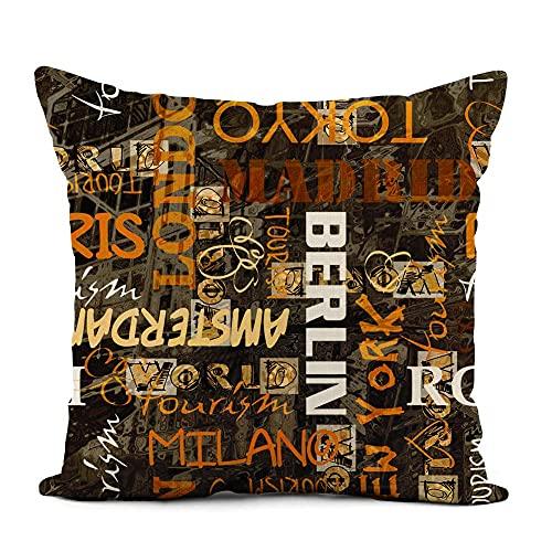 Funda de almohada de viaje de color naranja, estilo vintage, nombres de las ciudades, para sofá, cama y coche, 45,7 x 45,7 cm