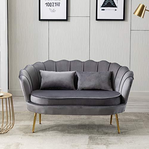Moiitee Sofá de 2 plazas, sofá de terciopelo, sofá tapizado con patas de metal dorado, silla de sofá para sala de estar, dormitorio, oficina en casa, recepción