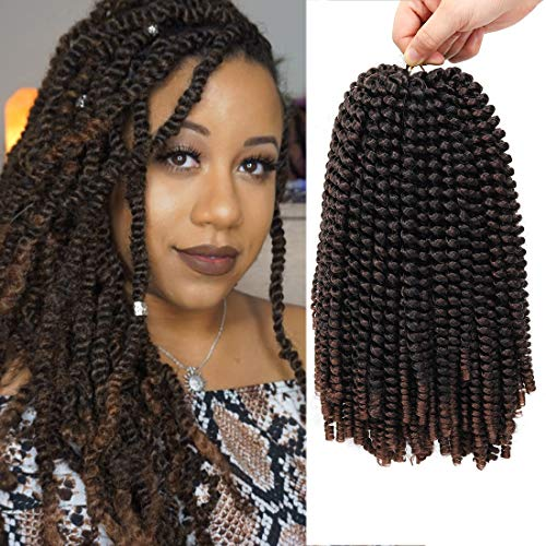 12 inch Spring Twist Crochet Braids Hair for Butterfly Locs Bomb Twist Crochet Hair Beyond Beauty Ombre Colors Synthetic Fluffy Hair Extension 3 Packs (12 Inch, M1B 30)