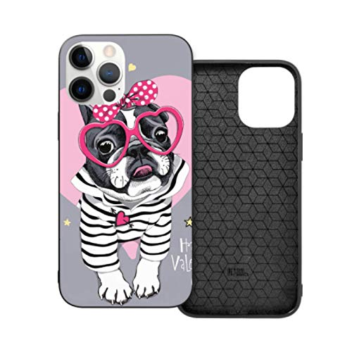 Case for iPhone 12 Pro-6.1 Inch,Card Valentines Day French Bulldog Striped Pc TPU Shockproof Scratch-Proof Phone Covers for Women and Men