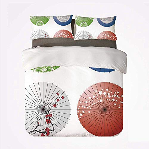 Miwaimao Apartment Decor Artisan Japanese Umbrella Design con Flores de Cerezo y Figuras de Estrellas,Juego de Ropa de Cama con Funda nórdica de Microfibra y 2 Funda de Almohada - 240 x 260 cm