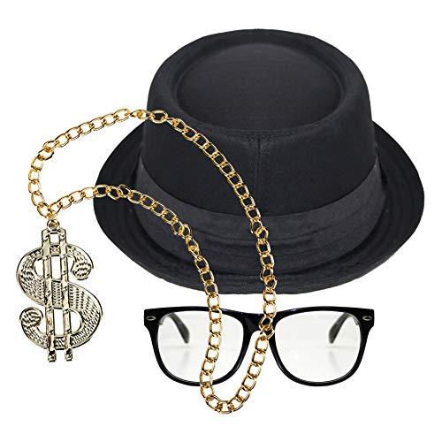by Robelli Hip Hop Run DMC Kostüm-Zubehör-Set (Pork Pie Hat, Sonnenbrille und Dollarzeichen-Halskette)