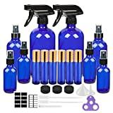Glass Spray Bottle Kits, Eternal Moment Cobalt Blue Glass Spray Bottle Set , Essential Oil Bottle (2 x 16oz,2 x 4oz,4 x 2oz) , 10 ml Roller Bottle x 6 with Labels for Aromatherapy Cleaning Products