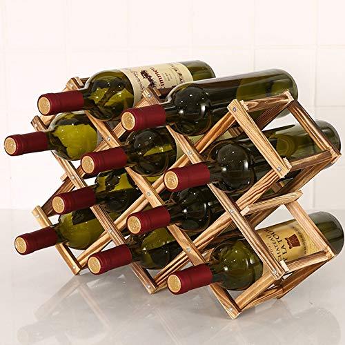 HWG Estantería De Vino Soporte para Botellero De Madera Plegable, para Exhibición De Vinos, Barra De Bar, Cerveza, Cocina Casera,A-3