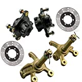 DENESTUS 4 Stud Front Wheel Rim Hub with Bearing Assembly with Steering Knuckle and Master Cylinder 2pcs Disc Disk Rotor Caliper for 125cc 150cc 200cc Quad Buggy 4 Wheeler ATV UTV DIY etc