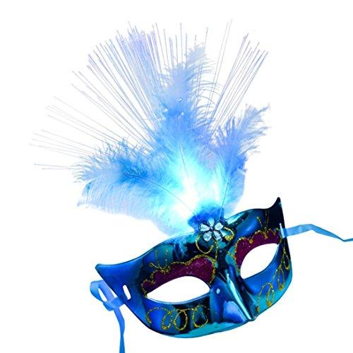Masque femme, Koly Masque Loup Venitien en en fibre Plume de LED Deguisement pour la Soiree Masque de Bal Mascarade Halloween Partie Vampire (Bleu)