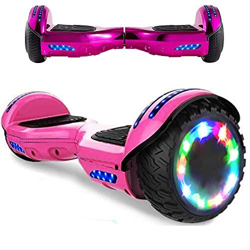 HappyBoard Hoverboard - 6.5' - Bluetooth - Motor 700 W - Velocidad 15 km/h - LED - Patinete Eléctrico Auto-Equilibrio - para niños y Adultos - Rosa Cromado