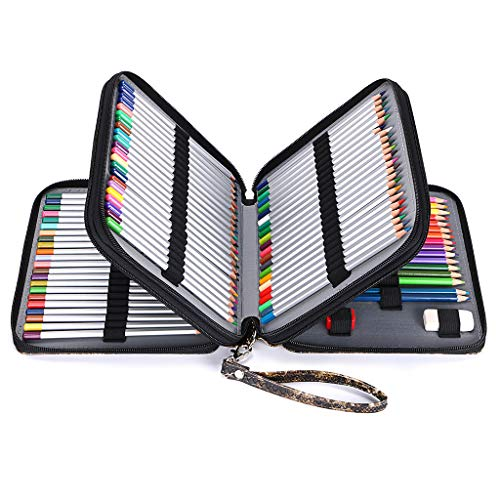 BTSKY Deluxe PU Leather Pencil Case For Colored Pencils - 120 Slot Pencil Holder with Handle Strap Handy Colored Pencil Box Large(Black Marble)