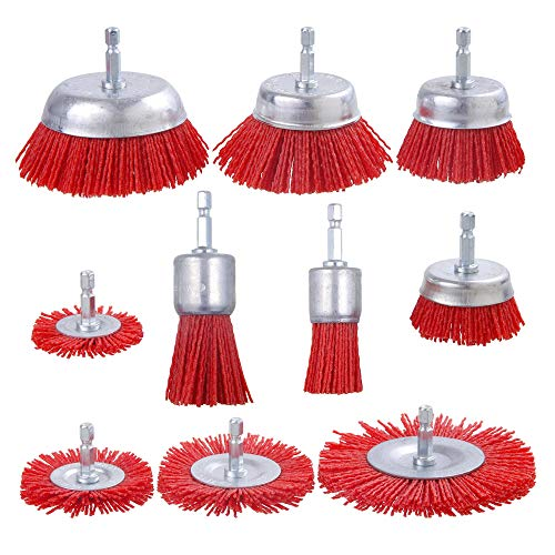 Rocaris 10 Pack Nylon Filament Abrasive Wire Brush Wheel & Cup Brush Set with 1/4 Inch Hex Shank, for Removal of Rust/Corrosion/Paint - Reduced Wire Breakage