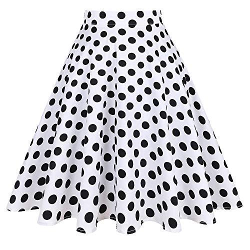 N\P Falda plisada de verano para mujer con lunares