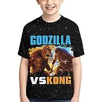 Dominic Art Godzilla vs Kong ゴジラVSコング チーム 男の子 Tシャツ 女の子 半袖 キッズ Tシャツ カットソー XL