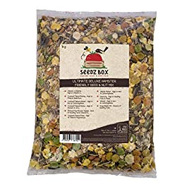 Seedzbox Ultimate Deluxe Hamster Food Seed and Nut Mix – Natural, Healthy Treats and Feed for Pet Hamsters, Gerbils and Mice – Sunflower Seeds, Peanuts, Maize, Barley, Vitamin C and Peas – 1kg Bag