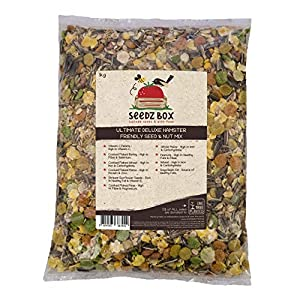 Seedzbox mezcla premium de semillas y pellets para hámsteres, jerbos y ratones. Comida para roedores, natural, sana, completa –pipas, cacahuetes, maíz, guisantes, cebada, con vitamina C. Bolsa 1kg