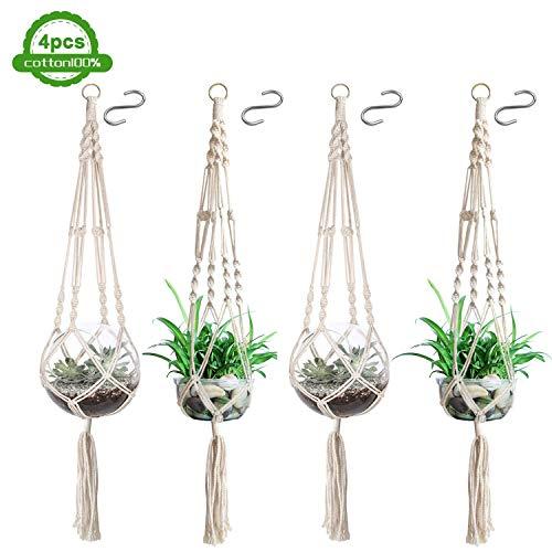 Makramee Bloempot (4 stuks), bloempot plantenhouder ophanghaak, katoenen touw hanglamp voor binnen buiten plafond balkon wanddecoratie - 41 inch, 4 poten