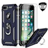 iPhone 8 Plus Case, iPhone 7 Plus Case, iPhone 6 Plus Case with Tempered Glass Screen Protector [2Pack], LeYi Military Grade Phone Case with Rotating Holder Kickstand for Apple iPhone 6s Plus, Blue