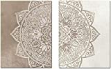 Surfilter Impresión en lienzo Mandala bohemia Floral Beige Arte de pared Impresión de póster Cuadro Lienzo Pintura Sala de estar Interior de la casa Decoración de la habitación de yoga 60x90 cm /