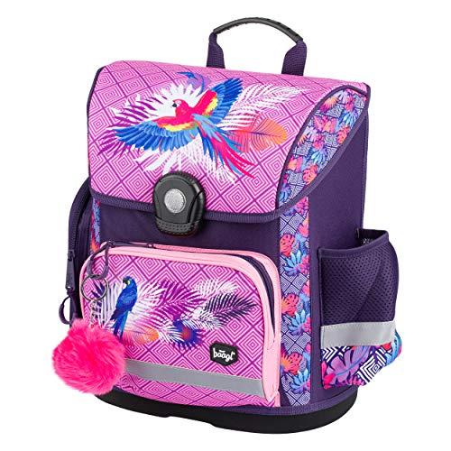 Baagl Schulranzen Mädchen 1. Klasse - Ergonomische Schultasche für Kinder - Grundschule Ranzen - Schulrucksack mit Brustgurt (Papagei)