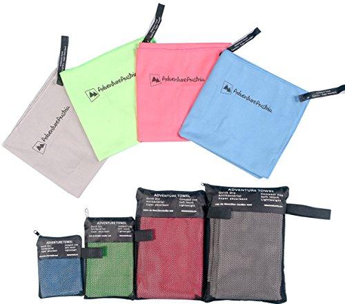 AdventureAustria Mikrofaser Handtuch Mini 30cm x 45cm Schnell trocknende Sporthandtuch für Fitness Wandern Urlaub Reisen usw - Sehr saugfähig weich anschmiegsam Material. Tasche inklusive. (Blau)