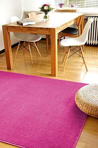 Alfombra Moderna Kolibri Rosa Fucsia 80x150cm - Alfombra Pelo Corto Colorida y de fácil Cuidado