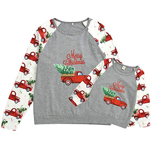 Mommy and Me Shirts Merry Christmas Long Sleeve T-Shirt Tops Cartoon Truck Blouse Family Matching Outfit Clothes (Grey & Kids, 4-5 Years)