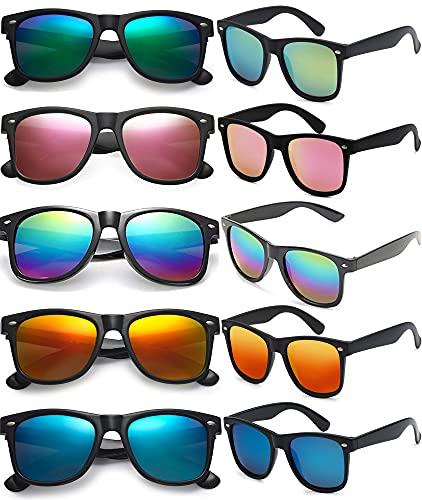 FSMILING Unisex Retro 80er Jahre Klassische Verspiegelt Sonnenbrille Set Für Herren Damen,Lustige Neon Party Brillen,10 Paar