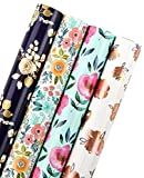 WRAPAHOLIC Wrapping Paper Roll - Beautiful Floral Design for Birthday, Holiday, Wedding, Party, Baby Shower - 4 Rolls - 30 Inch X 120 Inch Per Roll