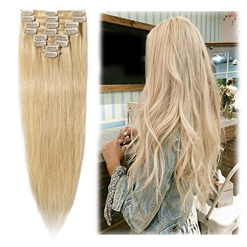 """Clip in Hair Extensions Golden Brown 14-24 inch Remy Human Hair for Women 8pcs 18 Clips Full Head Soft Straight Hair(18""""=70g #12)"""