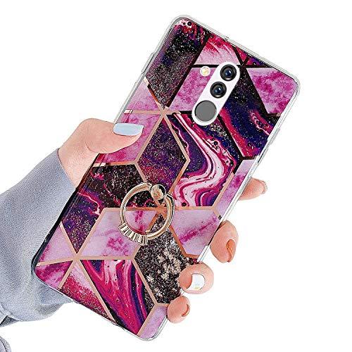 Herbests Kompatibel mit Huawei Mate 20 Lite Hülle Handyhülle Glänzend Glitzer Bling Marmor Muster Silikon Schutzhülle Soft Stoßfest Handytasche mit Diamant Ring Halter Ständer,Rot Lila
