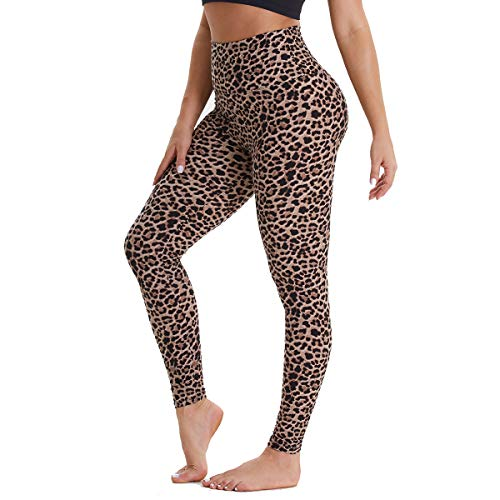 Gayhay High Waisted Leggings for Women - Soft Opaque Slim Tummy Control Printed Pants for Running Cycling Yoga (Brown Leopard, XX-Large)
