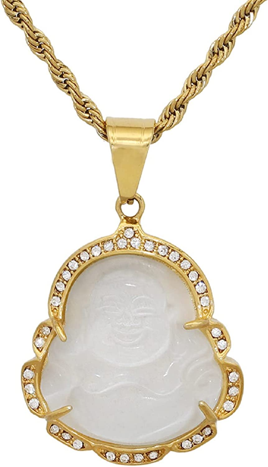 COLORFUL BLING 18k Gold Plated Laughing Buddha Pendant Necklace Green Jade Cubic Zirconia Gemstone Lucky Amulet Jewelry for Women Men