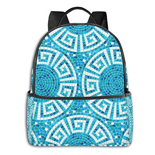 Rucksack Freizeit Damen Herren, Pool Mosaic Ceramic Geometric Campus Kinderrucksack, Daypack Schulrucksack Sportrucksack Tablet Tasche 15,6 Zoll