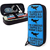 Yuanmeiju I'm A Dinosaur Trapped in A Woman's Body Multifunction Canvas Leather Estuche Pen Bag Makeup Pouch,4X9X20 cm