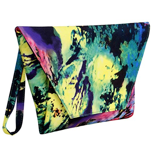 BMC Women's Colorful Abstract Paint Fashion Handbag Oversized Envelope Clutch