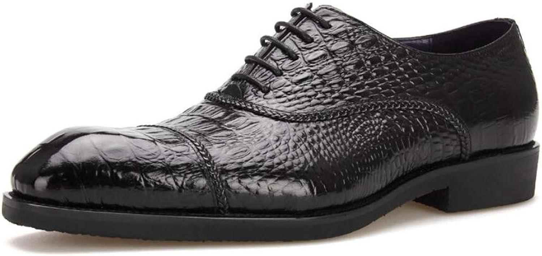 MKJYDM Oxford shoes Men's Dress shoes Handmade Black Formal shoes Red Lace Brock Dress shoes Men's Black Men's Leather shoes (color   Black, Size   41 EU)