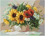 """Paint by Numbers for Adults, DIY Canvas Oil Painting Kit for Kids & Beginner,Water Colors Print with Paintbrushes and Acrylic Pigment Arts Craft for Wall Decor - Sunflower (16""""X20"""")-01"""