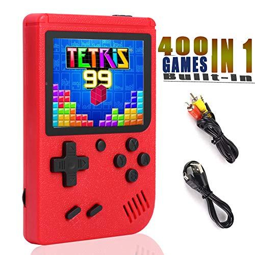 YFish Mini Console de Jeu Rétro Portable avec 400 Games 8BIT 3 Pouces D'Ecran, Console de Jeu Vidéo FC Classiques Grand Cadeau pour Les Enfants Amis et Famille (Rouge)