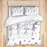 CVSANALA Komfortables Schlafzimmer Bettbezug Set, Ballett Mädchen Tanzen Ballerinas 3 Stück Luxus Weiche Bettwäsche Set (Keine Tröster)