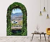 3D Wandtattoo Garten Tor Dschungel Kapstadt Afrika Berge Pflanzen Tür Gewölbe Wand Aufkleber Wandsticker 11FB083, Größe in cm:27cmx45cm