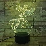 vhidfsjgdsfik 3D782 Anime Figur 3D LED Licht Tischlampe Halloween Dekoration Geschenk Kinder Urlaub USB 7 Farbwechsel Lava Lampe
