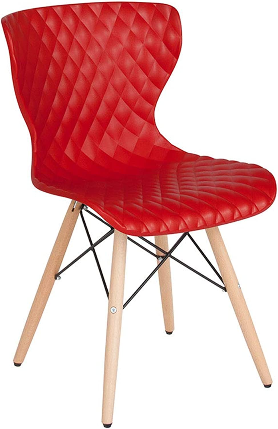 Offex Contemporary Plastic Accent Side Chair with Wooden Legs, Red