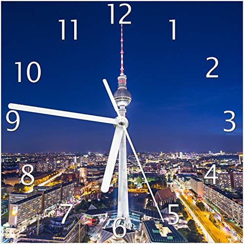 Wallario Glas-Uhr Echtglas Wanduhr Motivuhr; in Premium-Qualität; Größe: 20x20cm; Motiv: Fernsehturm Berlin bei Nacht