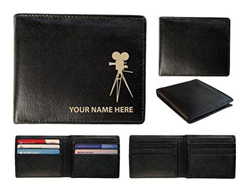 Personalisierte Herren-Geldbörse Leder–Laser markiert mit ihren Namen & Film Kamera Design, schwarz, Toscana