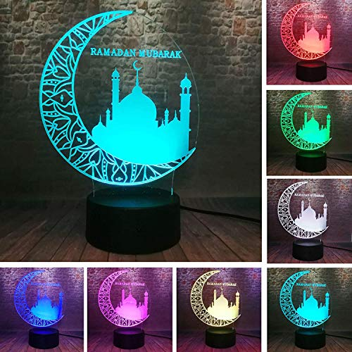 Classic 3D Ramadan Mubarak :رمضان Islam Church 7 Color Change Remote Control Night Light Decor Muslim Atmosphere Lamp for Bedroom Living Room Eid al-Fitr Party Light Friends Believers Gifts