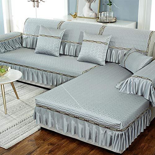 B/H Fundas de sofá de Esquina,Funda de sofá Simple, Funda de sofá Todo Incluido Antideslizante-Gris Oscuro_70 + 18 * 120cm,Asiento Antideslizante sofá Funda Tejido