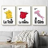 RTAGBFND Arte de la pared Pintura de la lona Impresión Cartel de la vendimia Italia Francia España Mapa de ruta en bicicleta Imagen Decoración de la sala de estar para ciclista-40x60cmx3 Sin marco