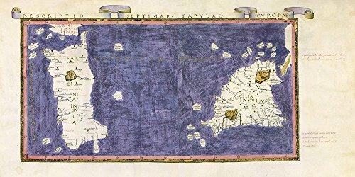 AFDRUKKEN-op-GEROLDE-CANVAS-Oude-Kaart-ofMediterranean-Zee-met-Sicilië-en-Sardinië-eilanden-anonymous-Kust-Afbeelding-gedruckt-op-canvas-100%-katoen-Opgero-Afmeting-99_X_198_cm