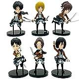 6pcs Attack On Titan Anime Figure Toy Ornaments Eren Jaeger/Mikasa/ Arlert/Levi·Ackerman/Hange Zoe/Sasha Braus Action Figures Q Version Cosplay Doll Fan Collectible Gift 9cm/3.5in