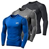 MEETYOO Tee Shirt Compression Homme Manche Longue, Baselayer Maillot Running Vetement Fitness pour Sports Jogging Musculation (Noir + Bleu + Gris, L)