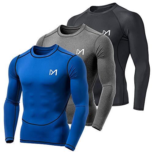 MEETYOO Kompressionsshirt Herren, Funktionsshirt Langarm Fitnessshirt Männer Sportshirt Atmungsaktiv Laufshirt für Laufen Jogging Sport Turnhalle (Schwarz + Blau + Grau, XL)